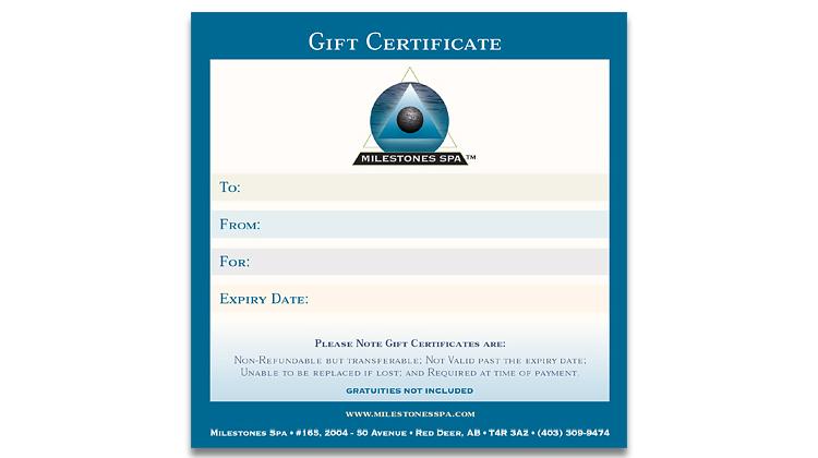 Milestones Spa Gift Certificate