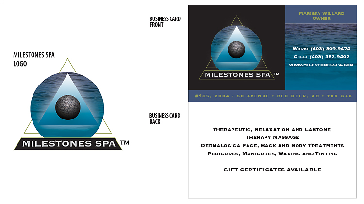 Milestones Spa Logo and Business Card